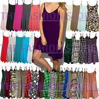 Ladies Long Camisole Cami Plain Strappy Swing Dress Vest Top Flared Sleeveless