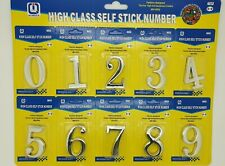 6cm Door Numbers 3D - Silver 0-9 Self Adhesive Stickers House Hotel Apartment