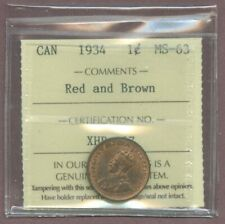 R3469.Canada 1934 1¢ cent ICCS MS-63 red & brown was $75.