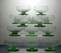 Clear Bowl & Green Stem Footed Dessert Dishes Ice Cream Glass Bowls Set Of 13