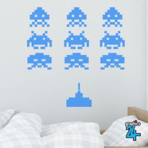 Space Invaders Retro Vinyl Wall Art Sticker Decal Kids Bedroom Home Decor