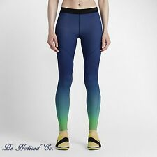 Nike Pro Hyperwarm Women's Training Tights XS Blue Green Ombre Gym Training New