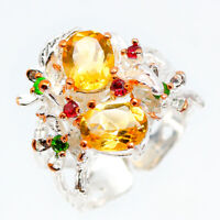 Vintage thai design Natural Citrine 925 Sterling Silver engagement ring / RVS110