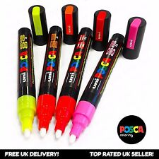 Uni Posca PC-5M Paint Marker Pens - Fluorescent Set of 4 - in Wallet
