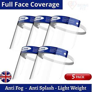 5 Pcs Face Shield Full Protection Visor Mask PPE Transparent Clear Anti Fog UK