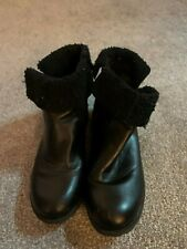 Black Fur Trimmed Ankle Boots, size 6 from Dorothy Perkins