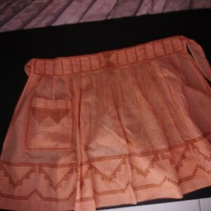 VTG Hand Made Embroidered Waist Apron Orange Plaid With Pocket