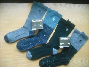 Mens NWT TIMBERLAND Boot Crew Socks 4prs Black Gray Navy Fleck Wool-Blend Sz:L