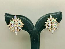 Clip Earrings - Very Sparkly Art Deco style Aurora Borealis Crystal