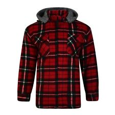 Mens Sherpa Fleece Hooded Lumberjack Work Shirt / Jacket