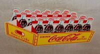 """VINTAGE DRINK COCA COLA IN BOTTLES 24 PACK DIE-CUT CASE 12"""" METAL SODA POP SIGN!"""