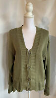 Chico's Women's Size 2 Olive Green 4 Button Chunky Cable Knit Cardigan Sweater
