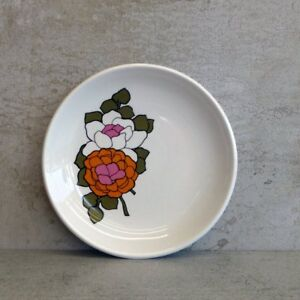 Vintage Myott England Small Pin Dish or Butter Pad Retro Flowers Orange Pink