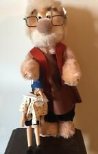 """STEIFF """"GEPPETTO BEAR AND PINOCCHIO"""" MOHAIR BEAR WITH WOODEN PUPPET/DISNEY 1996"""