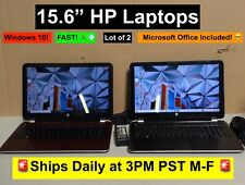 """Lot of 2 HP 15.6"""" FAST Windows 10 Laptops 2.0GHz 8GB RAM 750G HDD + Word & Excel"""