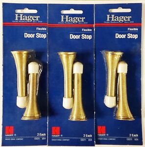 "Hager CD211-US4 Flexible Door Stop Brass Finish 3"" Length 6 Pack"