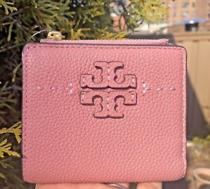 New Tory Burch McGraw leather mini bifold wallet pink w/ zip coin, bill pockets