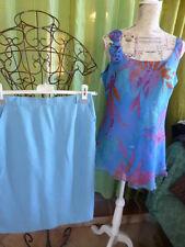 lot 2piéces femme   bleues ,jupe, corsage