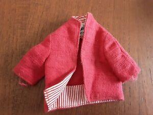 """Vintage Original Mattel Barbie Doll #981 """"Busy Gal"""" Red Linen Jacket Tag"""