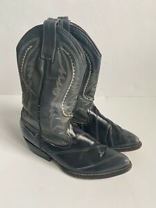 Pistolas Gray & Black Leather Cowboy Boots Made in Mexico Mens Size 6US 25Mex