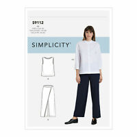 Simplicity Sewing Pattern S9112 Misses' Button Down Top, Shell Top & size 6 - 14