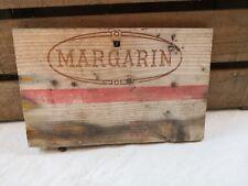 Façade caisse bois MARGARIN/estampe/produit norvégien/Lillehammer/déco rétro