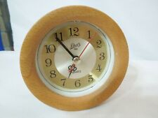 Schatz 1881 Quartz Desk / Shelf Clock Round Oak Wood Frame w/ Glass Lens