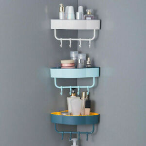 Bathroom Corner Shower Suction Shelf Tidy Wall Storage Basket Kitchen Caddy Rack