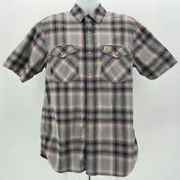 Carhartt Relaxed Fit Gray Plaid Snap Button Shirt Men's Medium