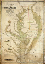 1840 Coast Survey Map Chart Chesapeake Delaware Bay Art Poster Print Wall Decor