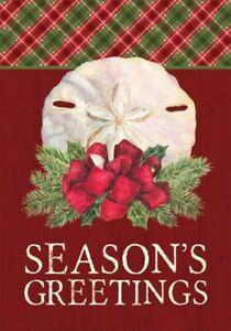 Coastal Christmas Sand Dollar Seasons Greetings Garden Flag 18 X 12 Inches