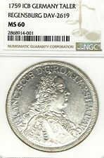German States Regensburg 1759 Taler Coin Thaler NGC MS 60 VZ/F.STG UNC RARE