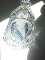 Lead Crystal Engraved Blue Bird Bell Made In Italy
