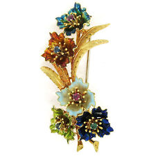 Vintage 18k Gold Multi Color Enamel Ruby Sapphire Emerald Flower Bouquet Brooch