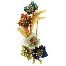 Vintage 18k Gold Multi Color Enamel Ruby Sapphire Emerald Flower Bouquet Brooch