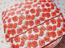 1 M x Red Poppy Flower Grosgrain Ribbon Craft 38mm Bow Cake Craft **UK**
