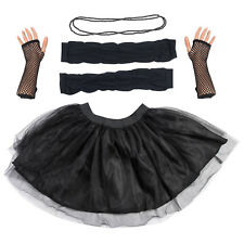Black Tutu Set Skirt Gloves Leg Warmers Necklace Womens 80s Fancy Dress Costume