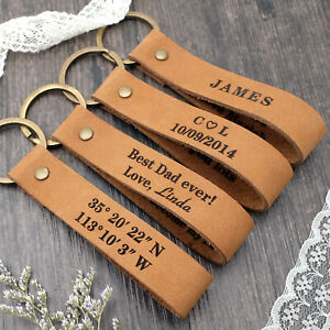 Personalised Leather Keyring Custom Keychain Engraved Keyring Father's Day Gift