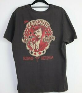 Cathouse Men's Lucky Brand Tag Made In USA Grunge T-Shirt Vintage Fit Size L