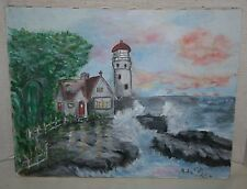 AMATEUR ARTIST SIGNED/DATED SEASIDE LIGHTHOUSE & COTTAGE OIL PAINTING ON CANVAS