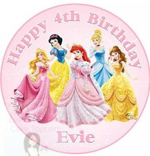 DISNEY PRINCESS CAKE TOPPER PERSONALISED EDIBLE ICING SHEET 7.5 INCHES ROUND
