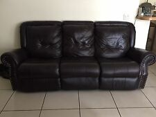 Dark Burgundy/ Brown Italian Leather Reclining Loveseat and Sofa Set (no chair)