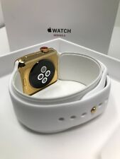 42MM Apple Watch SERIES 3 24K Gold Plated with White Sport Band GPS+CELLULAR