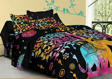 Indian Elephant Tree Mandala Duvet Doona Cover Comforter Queen Quilt Cover Set