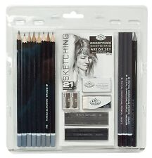 21 Pieces Sketching Drawing Artist Pencil Set. Art Charcoal Graphite Pack Kit
