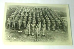 Vintage WWII Era Military Group Company Photo Troop At Attention Dog Mascot Camp