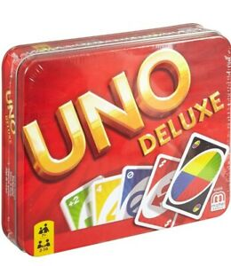 Uno tin Deluxe Card Game age 7+ mattel family classic game 2-10 players sealed