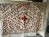 Antique Uzbek Suzani Needlework 4x5 Rare Floral Hand Embroidered Linen Tapestry