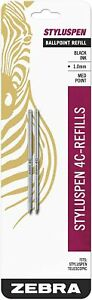 84412 Zebra StylusPen Telescopic Ballpoint Pen Refill, Black, 1.0mm Med, 1 Pack