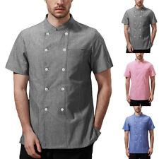 Mens Short Sleeve Chef Coat Jacket Kitchen Cooker Restaurant Shirt Catering Tops